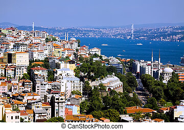 Aerial view of Bosphorus bridge from Galata tower in Istanbul