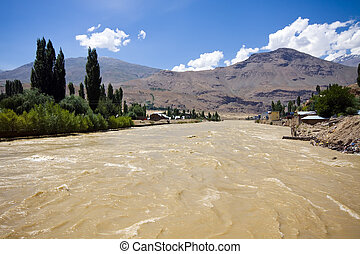 Flood in populated area