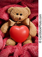 teddy bear - valentines teddy bear with bow holding heart