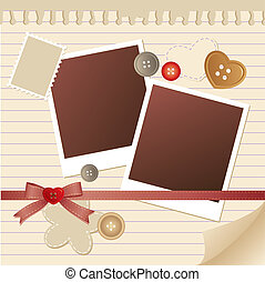 frame for photos - beige frame for photos with scrapbook...