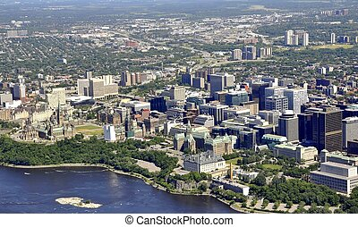 Ottawa aerial - aerial view of Downtown Ottawa, Ontario...
