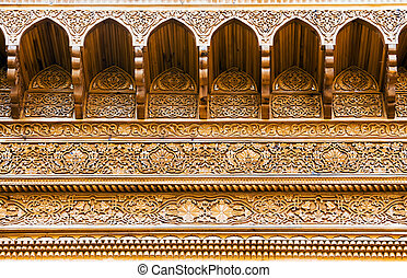 Carved wooden ceiling of an asian summerhouse