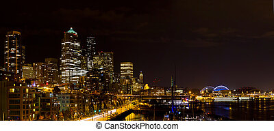 Seattle Washington Skyline at Night - Seattle Washington...