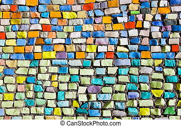 Horizontal colorful mosaic texture on wall - Diagonal...