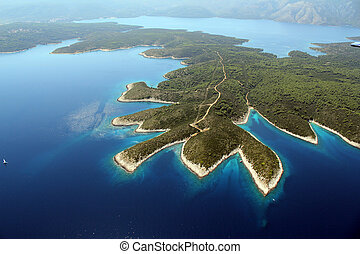 island Hvar from air - Shot from air, north-west side of...