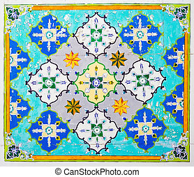 Old eastern ornament on wall - Old eastern ornament on...
