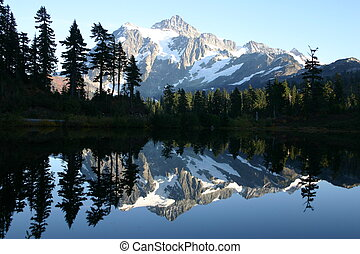 Mt Shuksan mirrored in Picture Lake