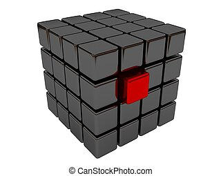 Red cube among set of black cubes