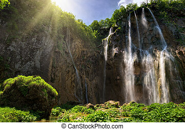 waterfall - the biggest waterfall in the Plitvitze national...