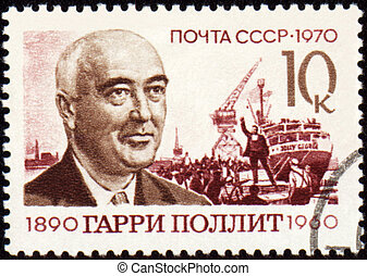 Portrait of Harry Pollitt on postage stamp - USSR - CIRCA...
