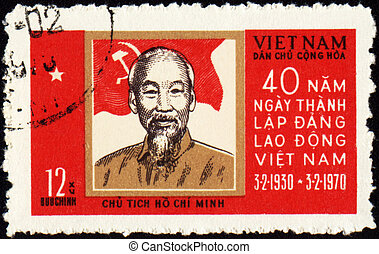 Portrait of Ho Chi Minh on postage stamp - VIETNAM - CIRCA...