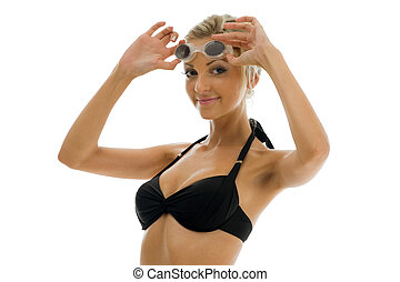 sportwoman in swimsuit with swimming goggles - Young...