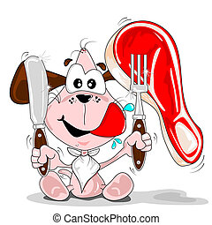 Cartoon dog and steak - A cartoon dog with a steak knife...