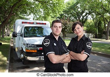 Paramedic Portrait with Ambulance - Portrait of two...