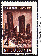 Mountains on post stamp