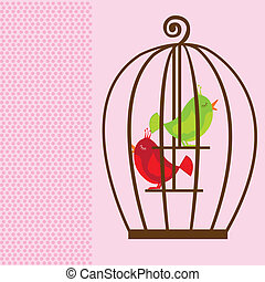 cute cage birds - brown cute cage with green and red birds...