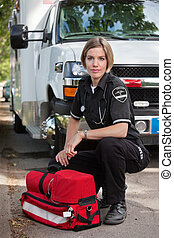 Confident EMS Paramedic Woman