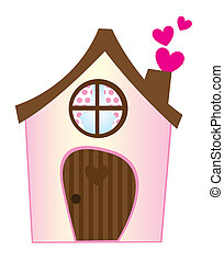sweet home - pink sweet home with hearts isolated over white...