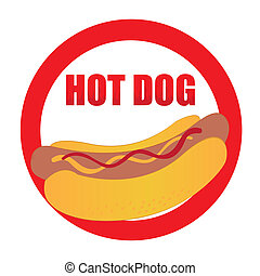 hot dog label - red,orange,yellow hot dog label isolated...