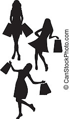 silhouettes woman shopping - black silhouettes woman...