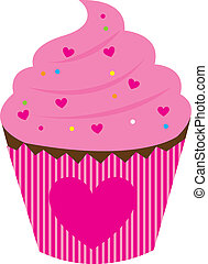 pink cake with hearth isolated over white background. vector