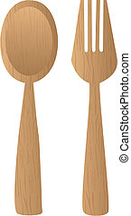 wooden cutlery - brown wooden cutlery isolated over white...