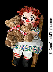 rag doll with teddy bear - Rag doll hugging a teddy bear in...