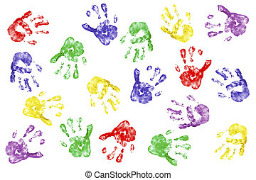 Creative hands - Kids handprints with fingerpaint isolated...