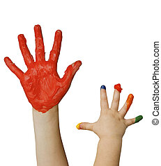 fingerpainting - Kids hands with fingerpaint isolated on...