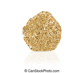 Gold nugget isolated with reflection