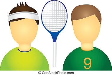 sportsmen with racket isolated over white background. vector