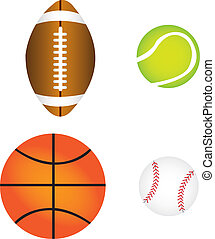 sports balls, vector - sports balls isolated over white...