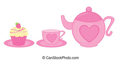teapot, cup and cake - pink teapot, tea cup and cup cake...