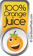 orange juice tag isolated over white background. vector