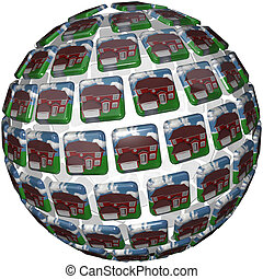 Houses Background Homes in Neighborhood Community - A sphere...