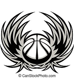 Basketball Template with Wings - Graphic Basketball ball...