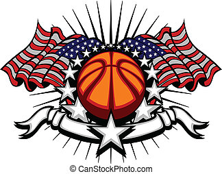 Basketball Vector Template with Fla - Stars and Stripes...