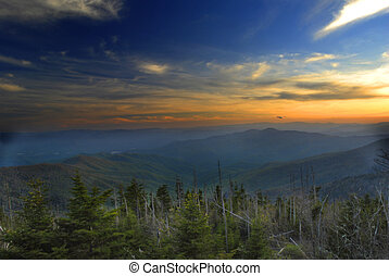 Smoky Sunset - Sunset at Clingmans Dome, Great Smoky...