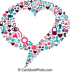 Bubble with a social media icons and heart shape - Social...