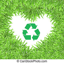 Recycle sign and cycle grass