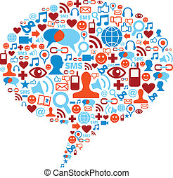 Social media bubble concept - Social media bubble shape made...
