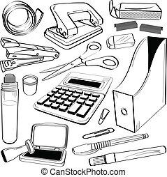 escritório, papelaria, ferramenta, doodle