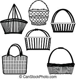cesta, bolsa, contenedor, alambró, de madera