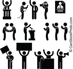 政治家, レポーター, 選挙, 投票