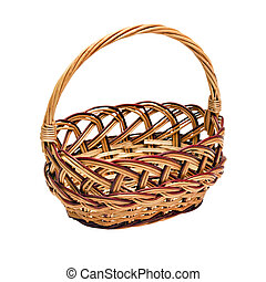 wickerwork basket with handle isolated on white background