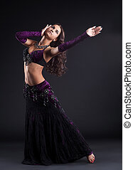 attractive woman dance in oriental arabic costume