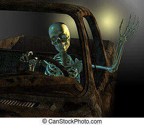 Friendly Skeleton Driver - A friendly skeleton drives a old...