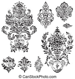 Vector Distressed Ornament Set Distressed overlay is...