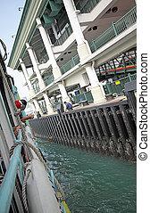 Ferry board pier in hongkong