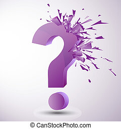 question mark - vector illustration of an exploding purple...